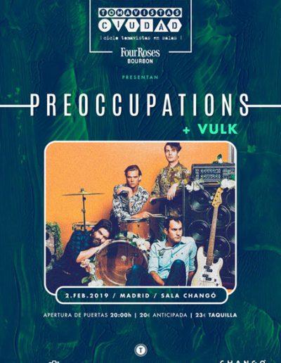 Cartel concierto Preoccupations y Vulk en Sala Changó