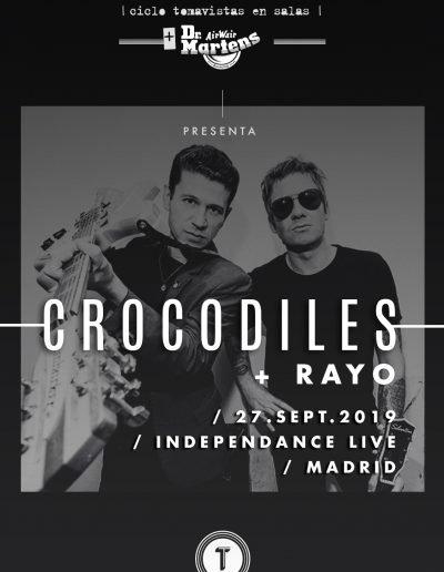 Cartel concierto Crocodiles y Rayo en Independance Tomavistas Ciudad