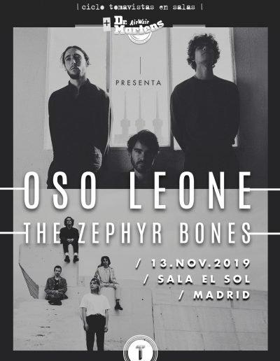 Cartel concierto Oso Leone y The Zephyr Bones en Sala El Sol Tomavistas Ciudad